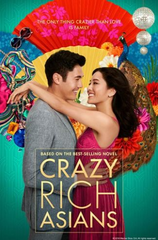 movie poster of Crazy Rich Asians showing characters Rachel Chu and Nick Young embracing