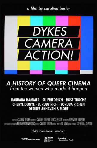 movie poster of Dykes, Camera Action! White text on a black and bright background