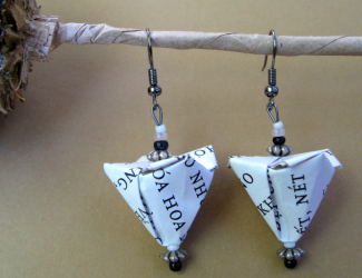 earrings made from printed paper using origami techniques