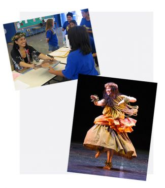 photo of Edna Cabcabin Moran signing books and a photo of Edna Cabcabin Moran dancing hula