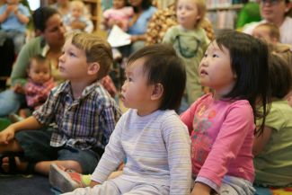 photo of kids at story time; used by permission of Terry Lorant Photography