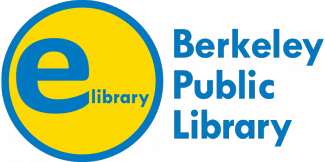 "Yellow circle with large ""e"" and small ""library"".  Next to it is text that reads Berkeley Public Library."