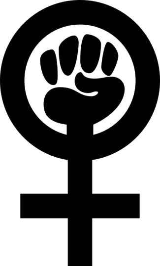 fist in a women's symbol in black ink