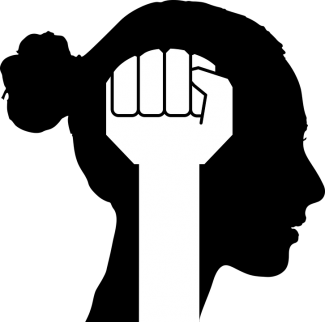 Silhouette of a woman with a bun and a power fist raised through the center.