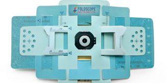 An assembled foldscope paper microscope.
