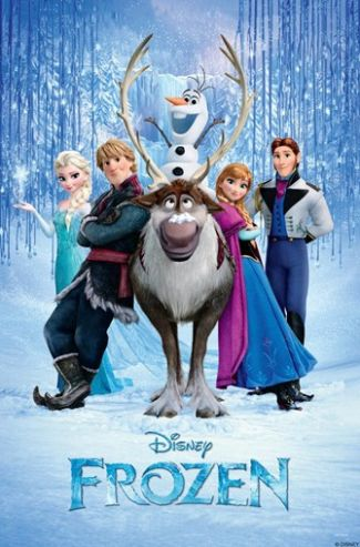 Movie poster featuring characters from the movie Frozen