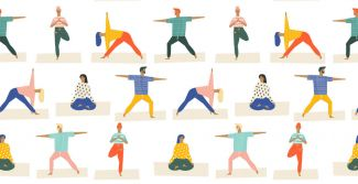 drawing of lots of tiny people doing yoga