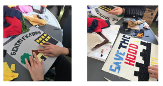 Two quilt blocks on the theme of gentrification being made  - photo from the SJSA website