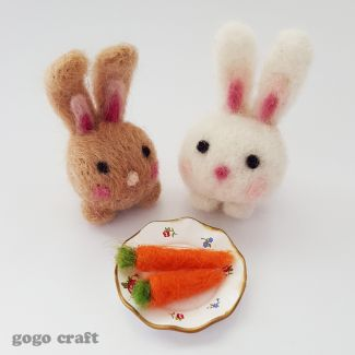 Felted bunnies and felted carrots