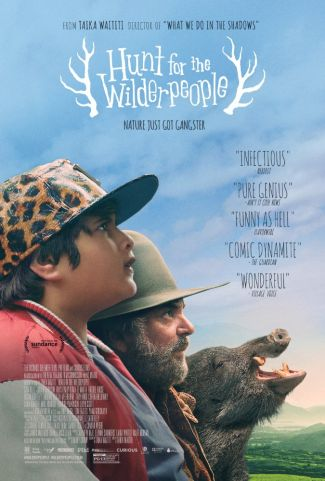 Hunt for the Wilder People poster with critic accolades written on the edge of the poster.