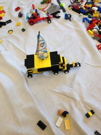 photo of a LEGO sailboat/car hybrid creation made by a library patron