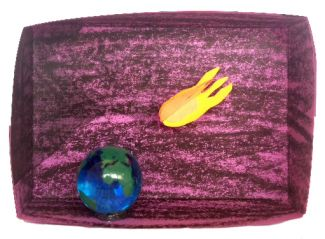picture of an asteroid destroying the earth diorama