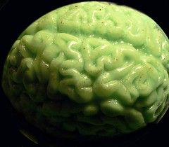 photo of a green brain made of jello