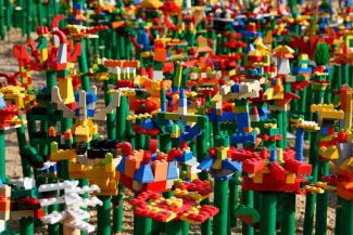 Abstract flower garden made of Lego blocks