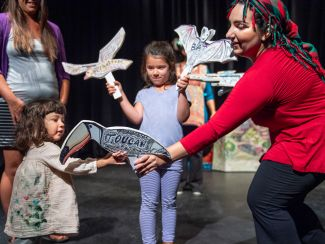 kids and actress in Leila's Quest for Flight by Golden Thread Fairytale Players