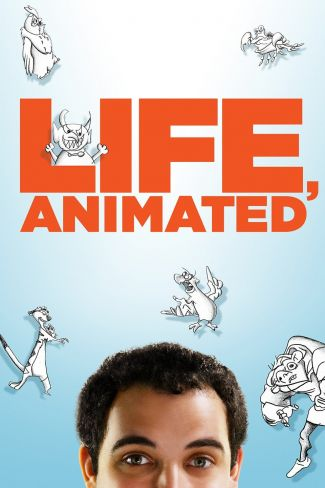 DVD case of Life, Animated showing part of a young man's face on a background of line drawings