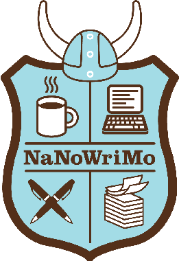 Drawing of coat of arms in light blue background with coffee mug, laptop, pens, and sheets of paper.