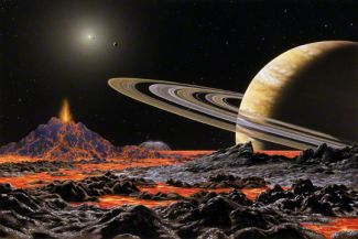 Painting by Lynette Cook of the 47 Ursae Majoris System