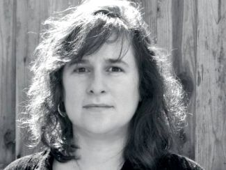 black and white photograph of Kim Shuck