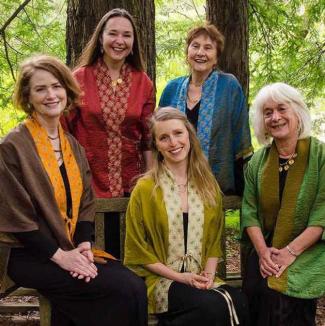 Members of Mozaik standing under the redwoods