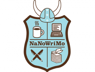 Coat of arms with a book, cup of coffee, pair of pens, and a computer
