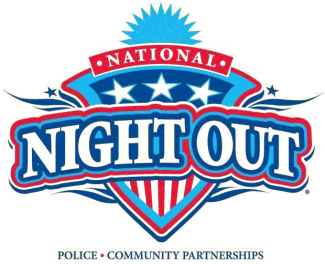 red, white and blue logo for National Night Out
