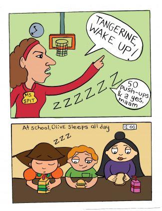 cartoon of teacher telling a child in class to wake up; artist: Cara Goldstein