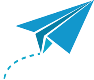 Drawing of Light blue paper airplane