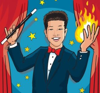 drawing of Perry Yan wearing tuxedo and holding magic wand, with fire in other hand; used by permission of Perry Yan
