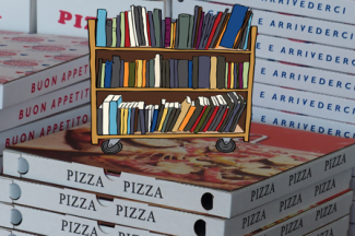 A stack of pizza boxes with a cartoon book truck filled with books on top