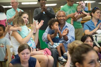 photo of families with toddlers at library event