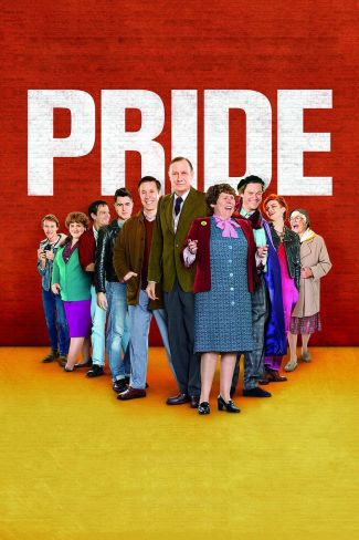 Pride movie poster of cast standing on a yellow floor against a red background