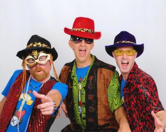 photo of three members of the Brian Waite Band wearing colorful hats; used by permission of the Brian Waite Band