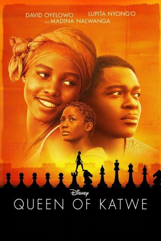 image from the film Queen of Katwe showing three faces against a vibrant orange sky