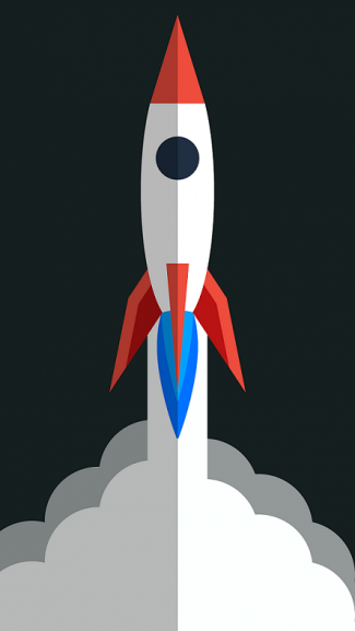 Red, white, and blue rocket lifting off.