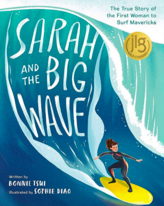 cover of book Sarah and the Big Wave, with painting of a big blue wave and a woman surfing it on a yellow surfboard