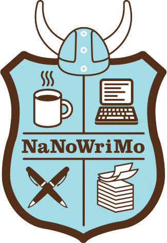 Shield with coffee cup, crossed pens, typwriter and paper. says NaNoWriMo