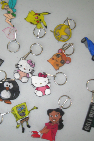 Homemade Shrinky Dink keychains - photo courtesy of Flickr user Lansing Library