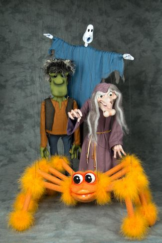 photo of marionettes: ghost, Frankenstein's monster, witch and spider from Fratello marionettes