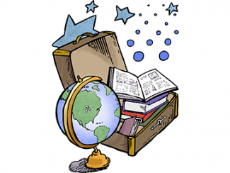 An open suitcase with globe, book, and stars
