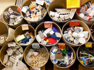 Bins of reusable supplies from the Depot for Creative Reuse