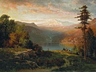 "Thomas Hill painting of ""Indian by a lake in a majestic California Landscape"