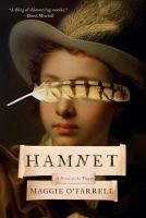 """cover of book Hamnet, a painting of """"Boy with Flute"""" a feather over his eyes"""