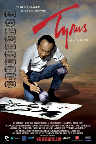 Tyrus Wong using a brush to create a painting on paper.