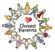 graphic image of United Parents logo with name, heart in a ring of figures holding hands