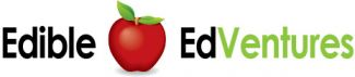 """Edible EdVentures logo with apple in middle of the words """"edible"""" and """"edVentures"""""""