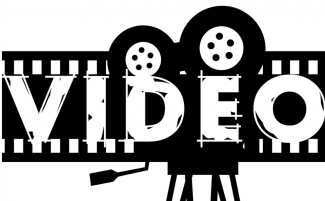 """the word """"video"""" written over a backdrop of film rolls and a tripod"""