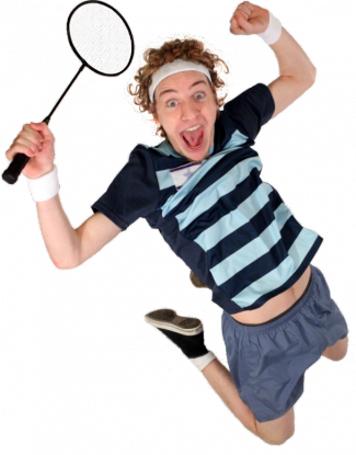 photo of actor from Traveling Lantern Theater jumping in the air while holding a badminton racquet
