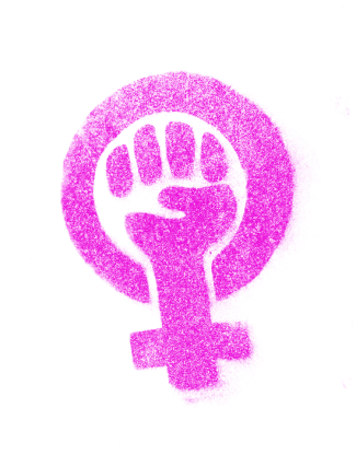 Logo of a symbol for female with a fist in the center.