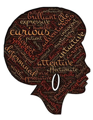 Silhouette of a person with an afro and large earring filled with positive words